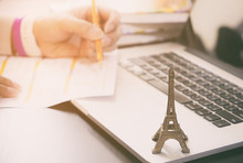 Traveler Planning A Trip To Paris France. Worker Is Applying For Visa To Paris France.