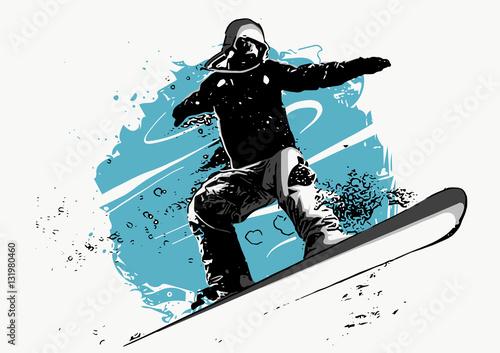 postac-snowboardzisty-na-niebiesko-bialym