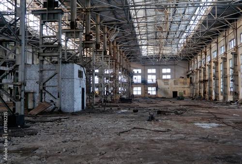 Tuinposter Oude verlaten gebouwen Abandoned warehouse of Voronezh excavator plant