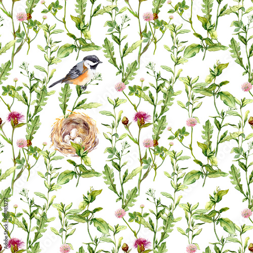 Cotton fabric Pattern with herbs, bird and nest. Seamless watercolor