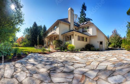 Fotografia, Obraz New patio in back garden of suburban home on a sunny autumn afternoon
