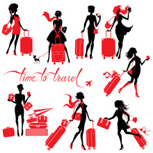 Set  Of Young Elegant Woman Silhouettes With Suitcase Isolated O