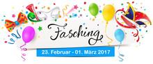 Banner Mit Bunten Faschingsmotiven, Schriftzug Und Datum - Fasching