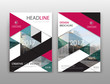 Abstract binder layout. White a4 brochure cover design. Fancy info text frame. Creative ad flyer font. Title sheet model set. Modern vector front page. City view banner. Pink figures mosaic icon fiber