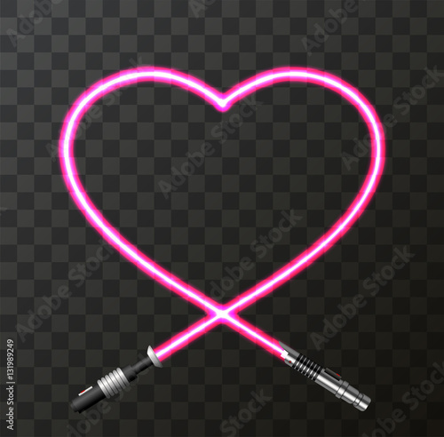 Vector modern concept heart and lightsaber for Valentines day Wallpaper Mural