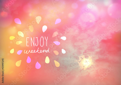 Poster Corail Enjoy weekend on Beautiful pink pastel sky with sun and cloud with bokeh effect