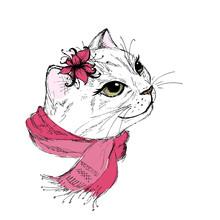 Hand Draw Fashion Portrait Of Cat Girl