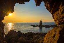 The Cave Near The Sea On The Sunset, Beautiful Sky, Thailand