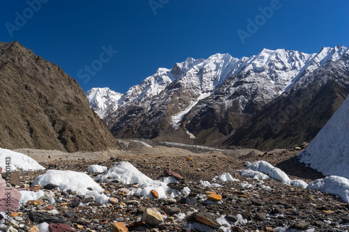 Foto op Canvas Nachtblauw Mountain landscape along the way to K2 base camp, Pakistan