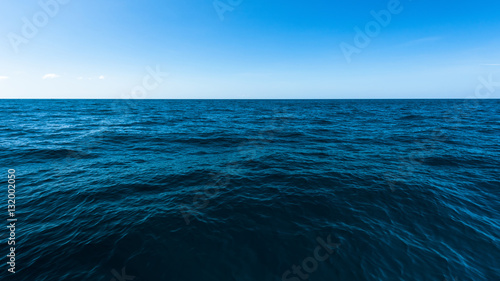 Poster Ocean Dark deep ocean and blue sea, The vast sea with blue sky
