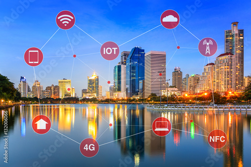 Fotografia  Smart City Concept Illustrated by Networking and Internet of Things or IOT