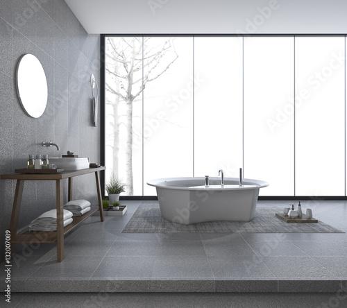Fototapeta 3d rendering modern bathroom design with beautiful view in winter obraz na płótnie