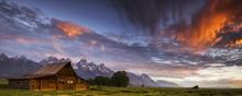 Tetons And Mormon Row Panorama At Sunrise