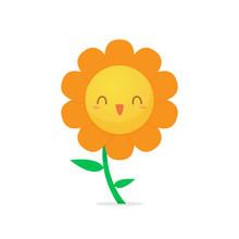 Happy Flower Cartoon Vector