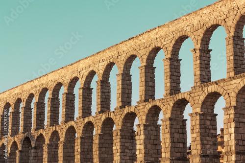 Photo of ancient Roman aqueduct in Segovia, Spain Canvas Print