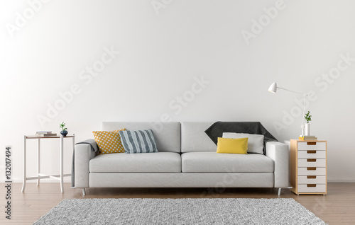 Obraz Empty living room with white wall in the background - fototapety do salonu