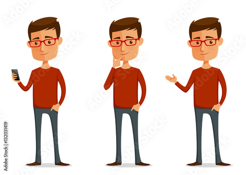 Photo  funny cartoon guy with glasses in various poses