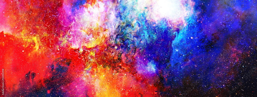 Fototapety, obrazy: Cosmic space and stars, color cosmic abstract background.