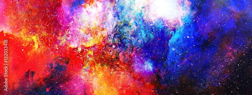 Obraz na plátně Cosmic space and stars, color cosmic abstract background.