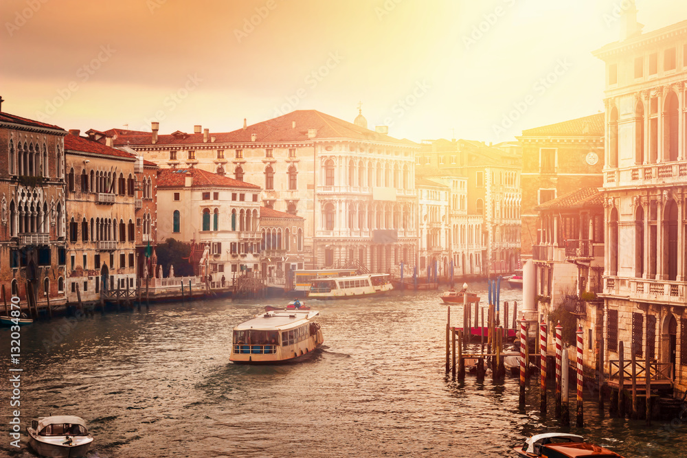 Fototapety, obrazy: Beautiful Grand canal in Venice at sunset, Italy.