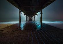 Paignton Pier In Mist At Night