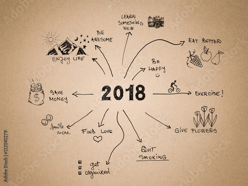 Photo  2018 New Year Resolution, goals written on cardboard with hand drawn sketches