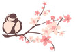 spring nature design with blooming tree branch and bird