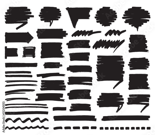 Fotomural Set of black marker stripes, strokes, shaded speech bubbles and lines isolated on white