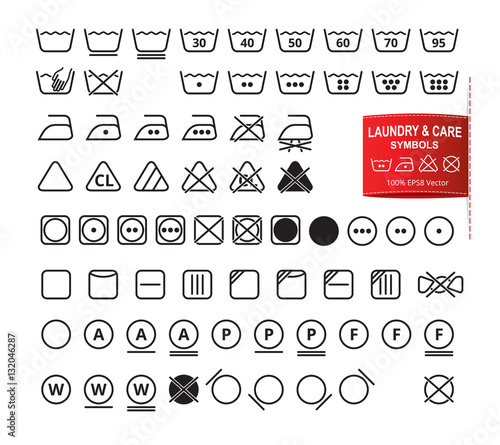 Icon Set Of Laundry Symbols In Modern Thin Line Flat Design Style