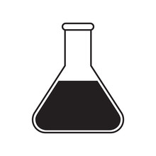 Simple Flat Conical Flask Icon, Grayscale On White Background