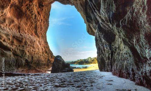 Open cave at One Thousand Steps Beach in Laguna Beach, California, USA