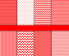 Red Seamless Pattern Vector Background Set