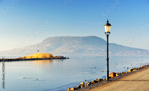 Landscape of Lake Balaton in winter time ( Fonyod ), Hungary  ( selective focus Wallpaper Mural