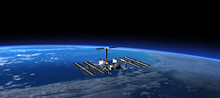 International Space Station In Space. 3D Scene.