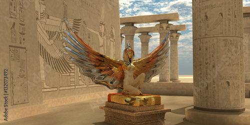 Photo  Egyptian God Isis - An Isis statue in the Temple of Isis which is part of the religion of ancient Egyptian civilization