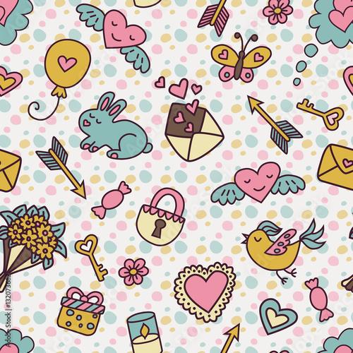 Materiał do szycia Wzór w stylu cartoon w pastelowych kolorach na Walentynki.