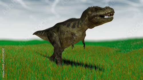 Fotografie, Obraz  3d illustration of the tyrannosaurus hunting