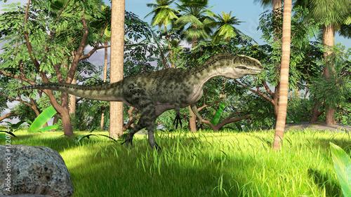 Fotografie, Obraz  3d illustration of the walking monolophosaurus