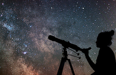 Woman with telescope watching the stars. Stargazing woman and ni