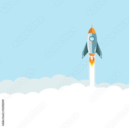 Fotografie, Obraz  flying rocket over clouds background.