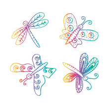 Hand Drawn Butterflies And Dra...