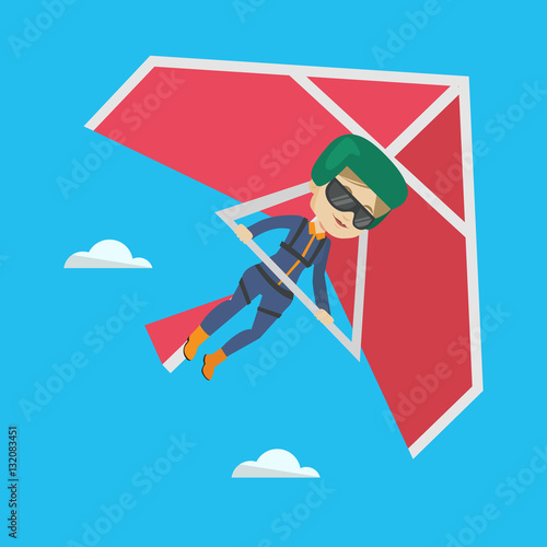 Fotografía  Woman flying on hang-glider vector illustration.