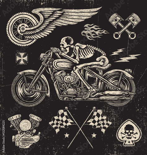 Poster de jardin Crâne aquarelle Scratchboard Motorcycle Elements