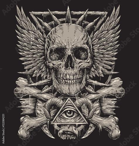 Fotografia Heavy Metal inspired Skull Design