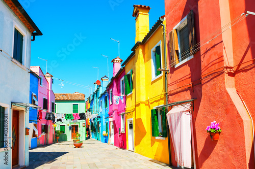 Photo Stands Coral Colorful houses in Burano island near Venice, Italy