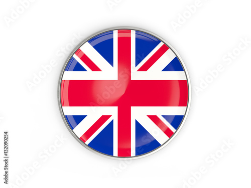 Flag of united kingdom, round icon with metal frame