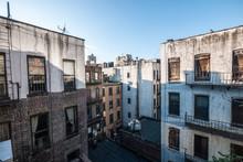 Brownstones And Urban Dwellings In Between Blocks In New York City