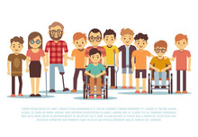 Disabled Child, Handicapped Children, Diverse Students In Wheelchair Vector Set