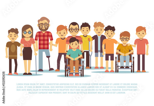 Obraz Disabled child, handicapped children, diverse students in wheelchair vector set - fototapety do salonu