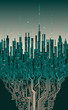 City online. Abstract futuristic digital city, hi-tech information background